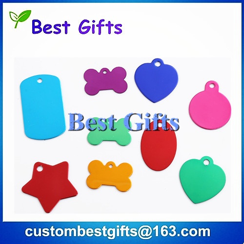 Colorful blank dog tag with custom logo