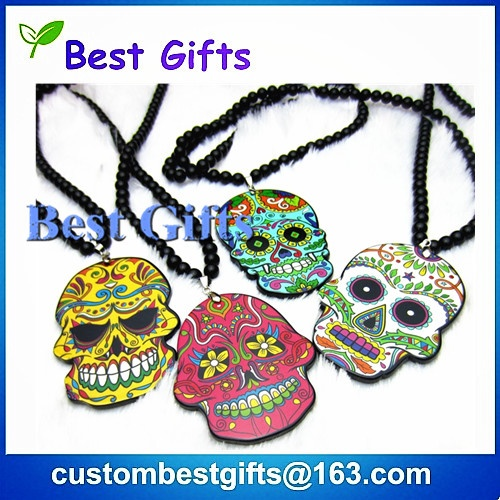 t punk multi colour print design enamel skull  pendant with Mexican Tattoo