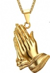 Gold Plated Stainless Steel Praying Hand Buddhist Hand Pendant Necklace