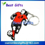 PVC custom made keychain, custom football player keychain